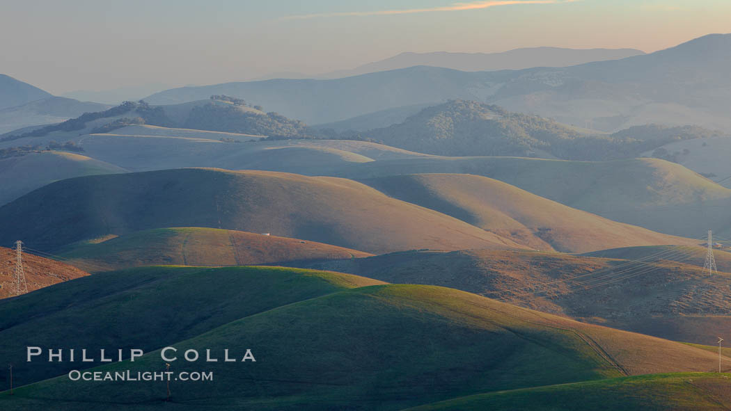 Hills between Morro Bay and Atascadero, early morning light, power transmission lines and signal attenae. Morro Bay, California, USA, natural history stock photograph, photo id 22221