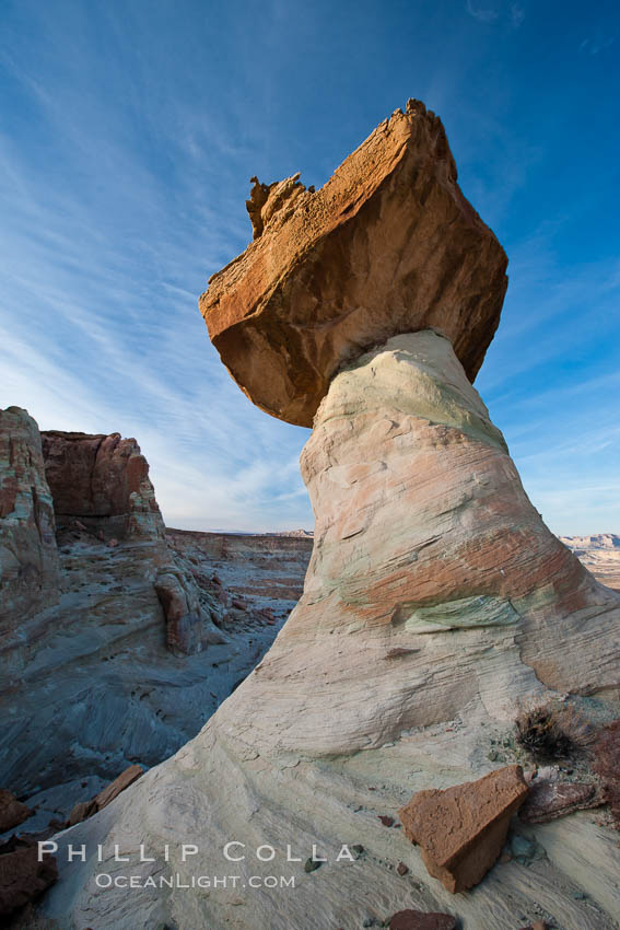 Pedestal rock, or hoodoo, at Stud Horse Point.  These hoodoos form when erosion occurs around but not underneath a more resistant caprock that sits atop of the hoodoo spire. Stud Horse Point, Page, Arizona, USA, natural history stock photograph, photo id 26610