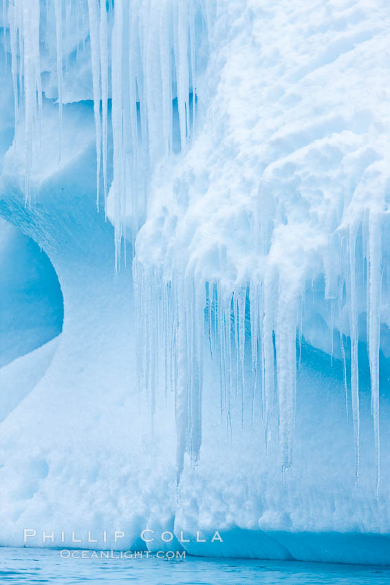 Icicles and melting ice, hanging from the edge of an blue iceberg.  Is this the result of climate change and global warming?. Brown Bluff, Antarctic Peninsula, Antarctica, natural history stock photograph, photo id 24800