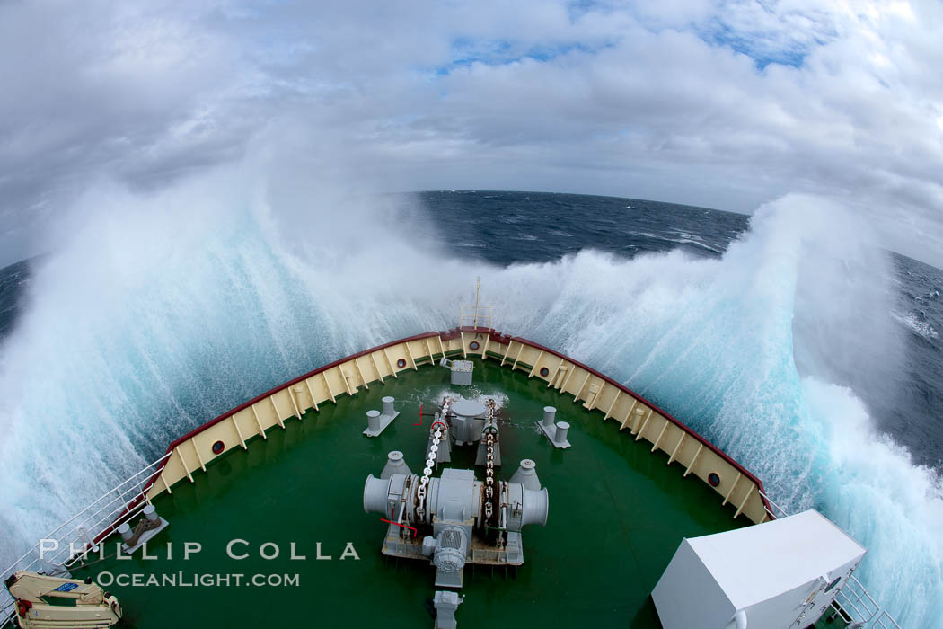 Icebreaker Polar Star, bow plunging through high seas during crossing of the Drake Passage between South America and the Antarctic Peninsula
