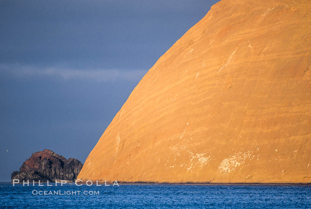 Isla Adentro (right) and Church Rock (partially obscured), sunrise. Guadalupe Island (Isla Guadalupe), Baja California, Mexico, natural history stock photograph, photo id 03707