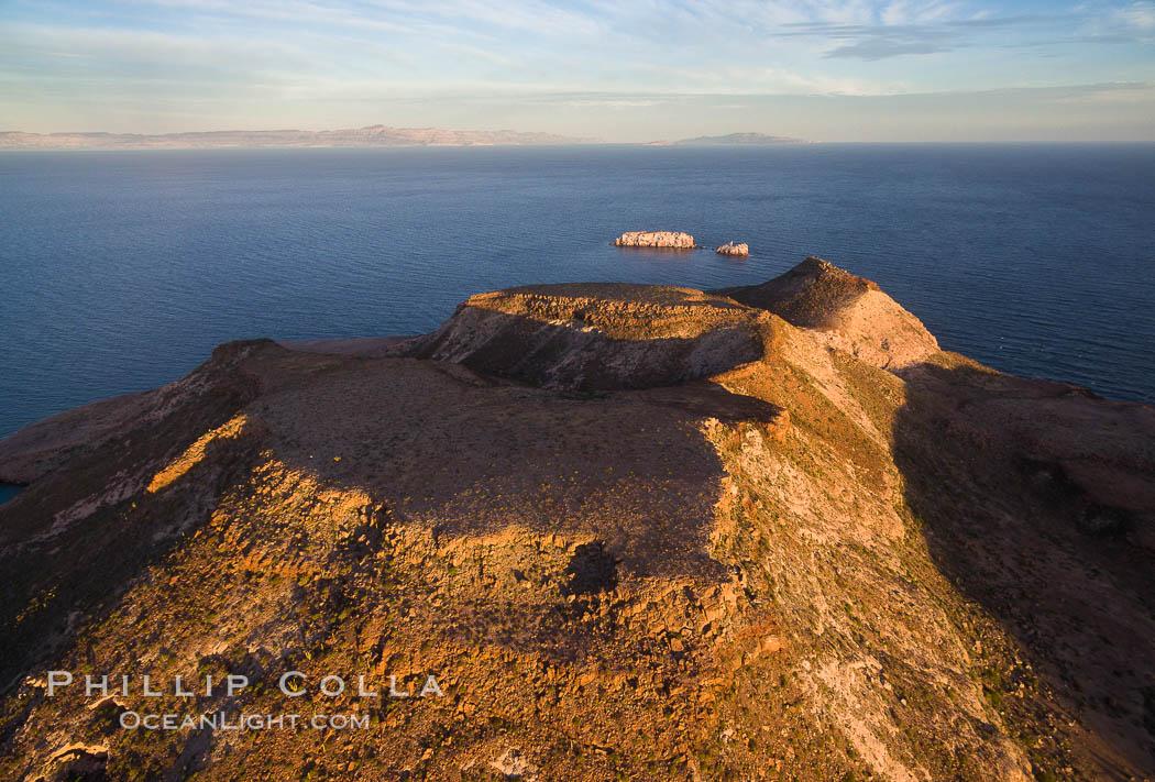 Isla Partida highlands at Sunrise, view toward Punta Maru and Los Islotes, Aerial Photo. Isla Partida, Baja California, Mexico, natural history stock photograph, photo id 32455