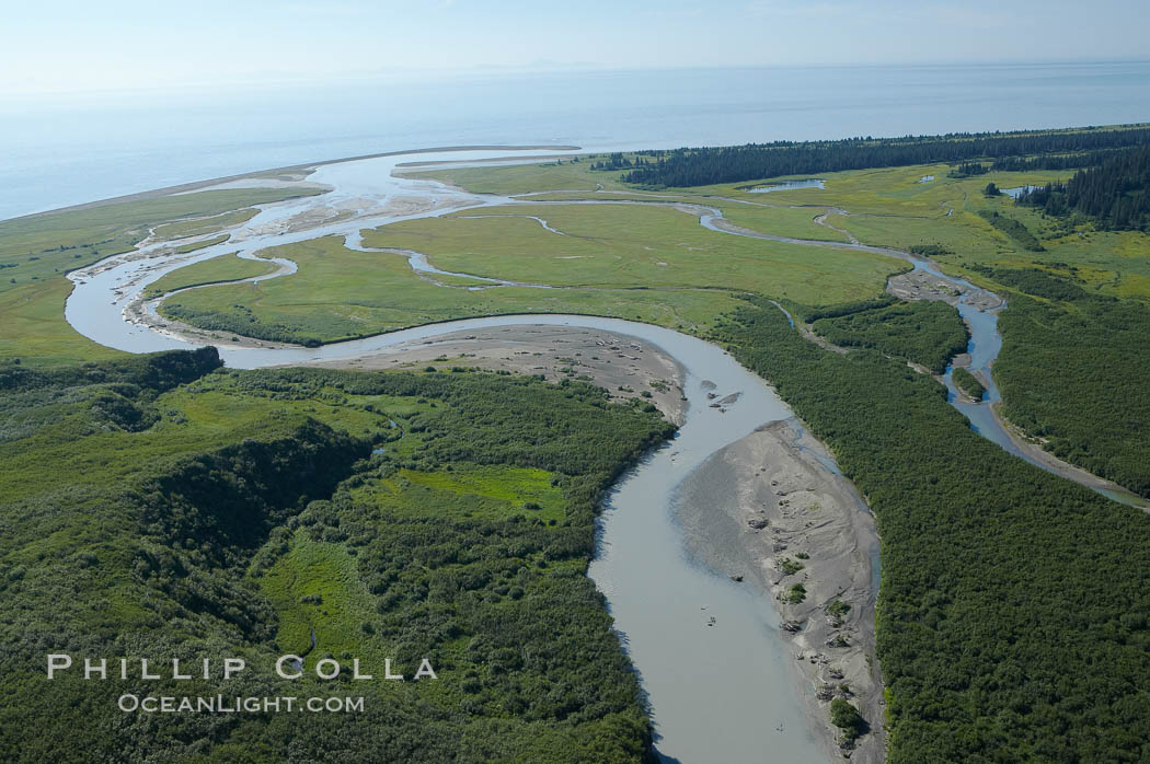Johnson River, side waters and tidal sloughs, flowing among sedge grass meadows before emptying into Cook Inlet.,  Copyright Phillip Colla, image #19063, all rights reserved worldwide.