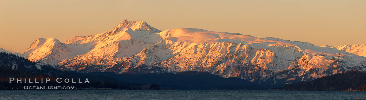 Kenai Mountains at sunrise, viewed across Kachemak Bay. Kachemak Bay, Homer, Alaska, USA, natural history stock photograph, photo id 22739