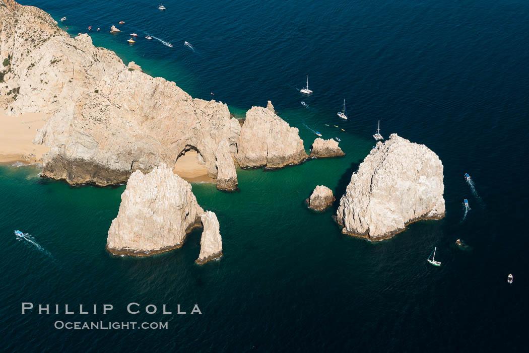 Aerial photograph of Land's End and the Arch, Cabo San Lucas, Mexico. Cabo San Lucas, Baja California, Mexico, natural history stock photograph, photo id 28892