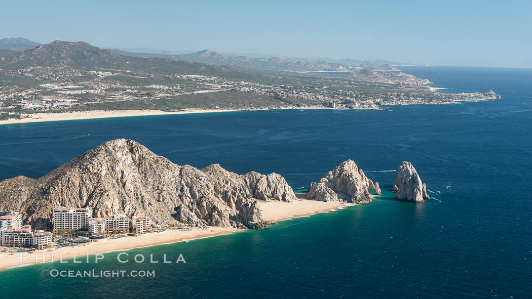 Aerial photograph of Land's End and the Arch, Cabo San Lucas, Mexico. Cabo San Lucas, Baja California, Mexico, natural history stock photograph, photo id 28887