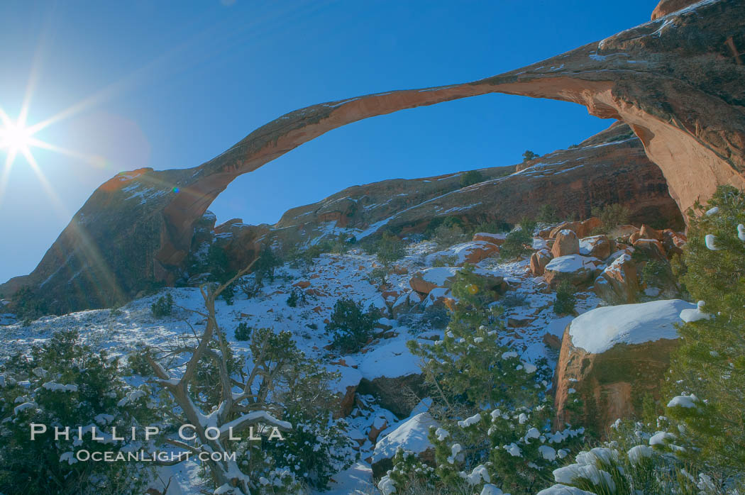 Landscape Arch in winter. Landscape Arch has an amazing 306-foot span. Arches National Park, Utah, USA, natural history stock photograph, photo id 18117