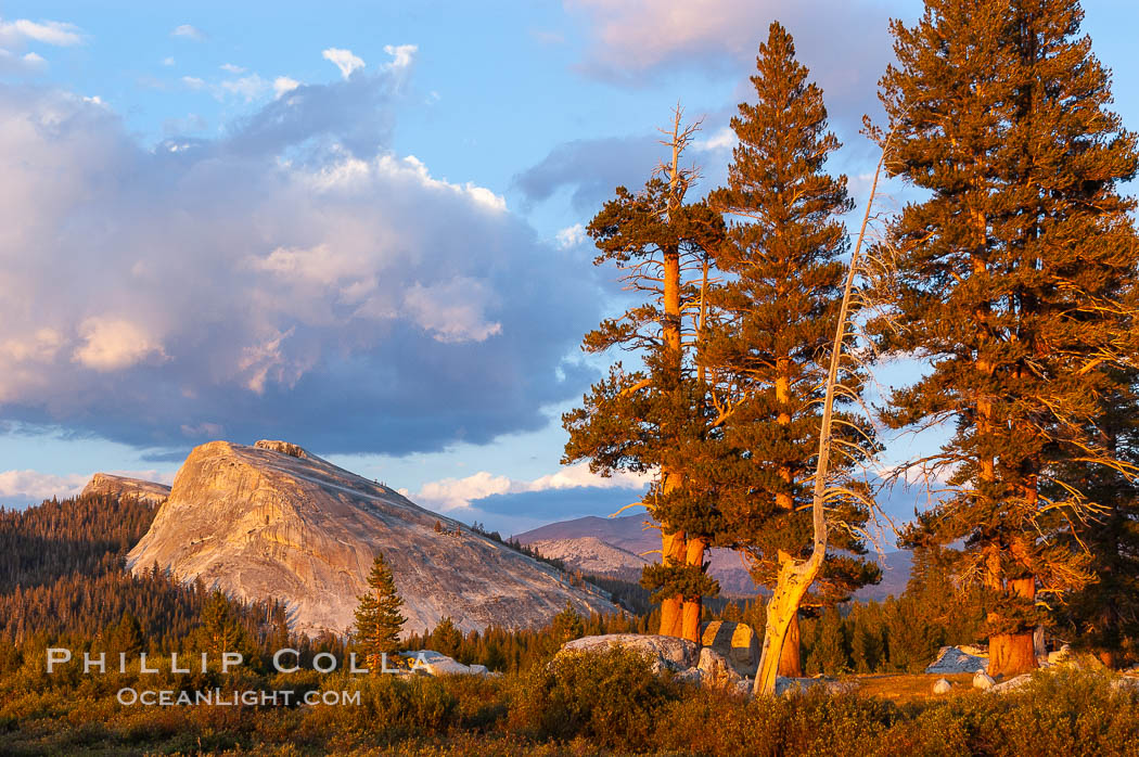 Lembert Dome and late afternoon clouds rise above Tuolumne Meadows in the High Sierra, catching the fading light of sunset, Yosemite National Park, California