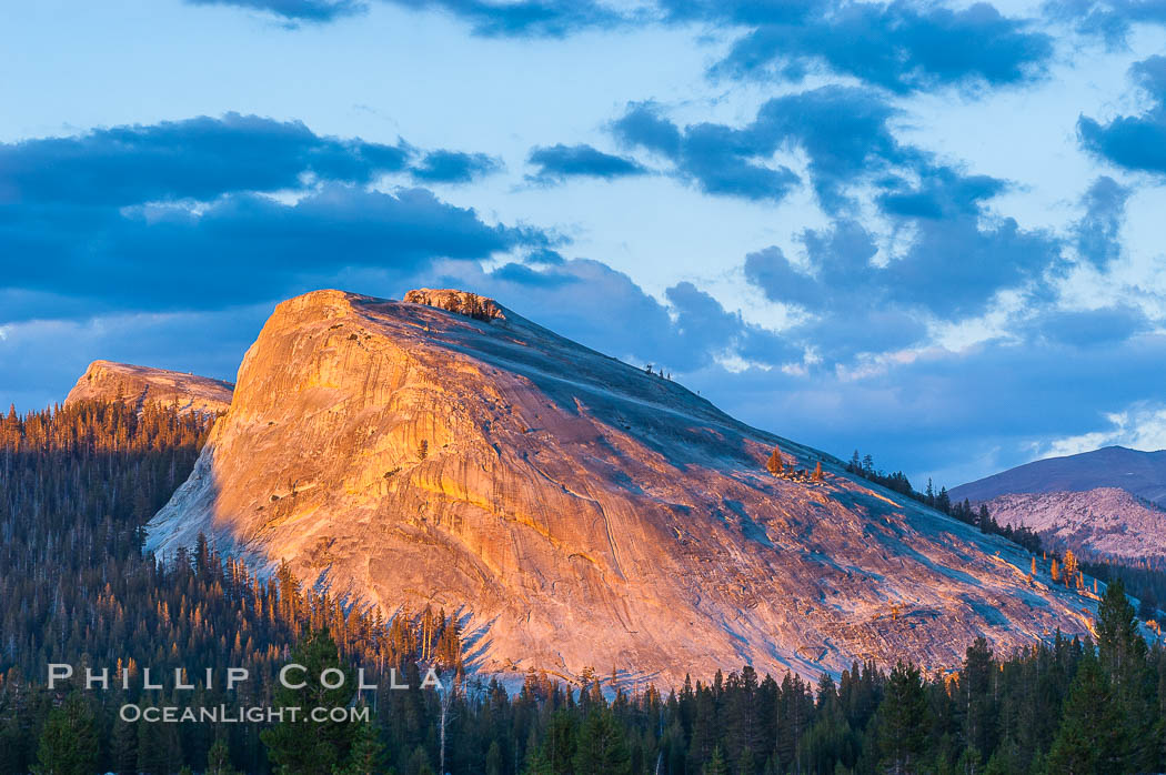Lembert Dome rises above Tuolumne Meadows in the High Sierra, catching the fading light of sunset, Yosemite National Park, California