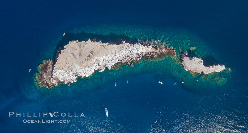 Los Islotes, famous for its friendly colony of California sea lions, part of Archipelago Espiritu Santo, Sea of Cortez, Aerial Photo. Baja California, Mexico, natural history stock photograph, photo id 32409
