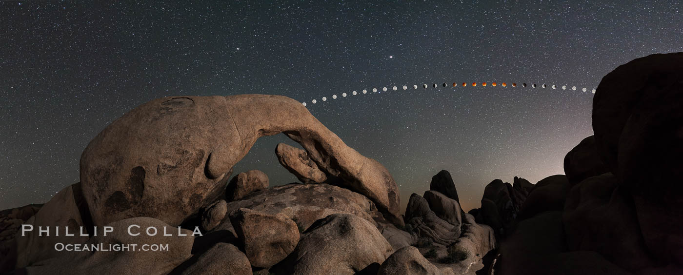 Lunar Eclipse and blood red moon sequence over Arch Rock, composite image, Joshua Tree National Park, April 14/15 2014