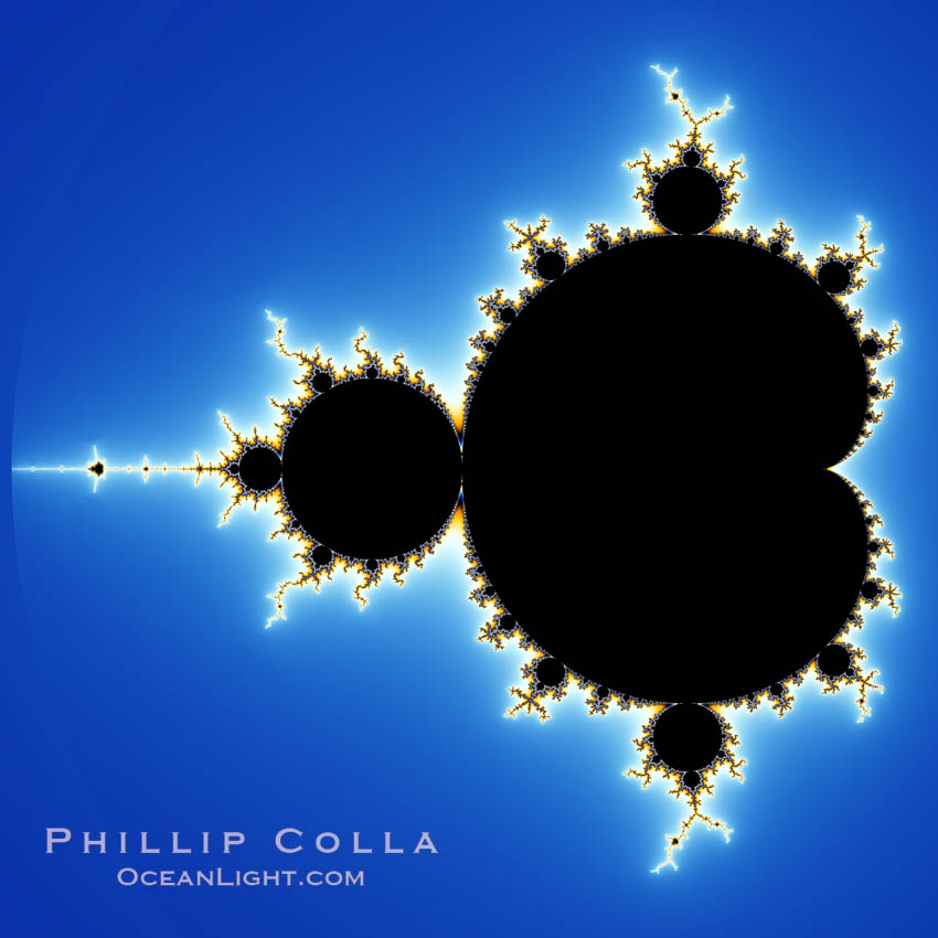 The Mandelbrot Fractal.  Fractals are complex geometric shapes that exhibit repeating patterns typified by <i>self-similarity</i>, or the tendency for the details of a shape to appear similar to the shape itself.  Often these shapes resemble patterns occurring naturally in the physical world, such as spiraling leaves, seemingly random coastlines, erosion and liquid waves.  Fractals are generated through surprisingly simple underlying mathematical expressions, producing subtle and surprising patterns.  The basic iterative expression for the Mandelbrot set is z = z-squared + c, operating in the complex (real, imaginary) number set., Mandelbrot set, natural history stock photograph, photo id 10369