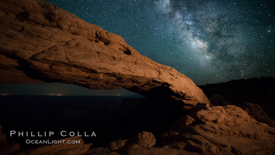 Mesa Arch and Milky Way at night. Mesa Arch, Canyonlands National Park, Utah, USA, natural history stock photograph, photo id 27830