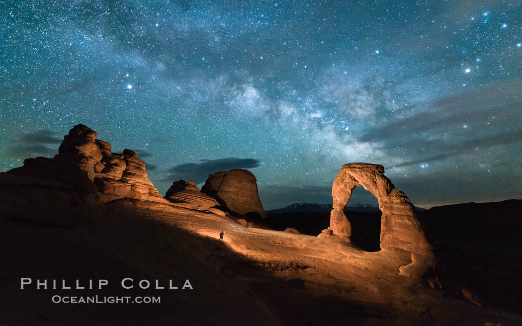 Milky Way and Stars over Delicate Arch, at night, Arches National Park, Utah. USA, natural history stock photograph, photo id 29289