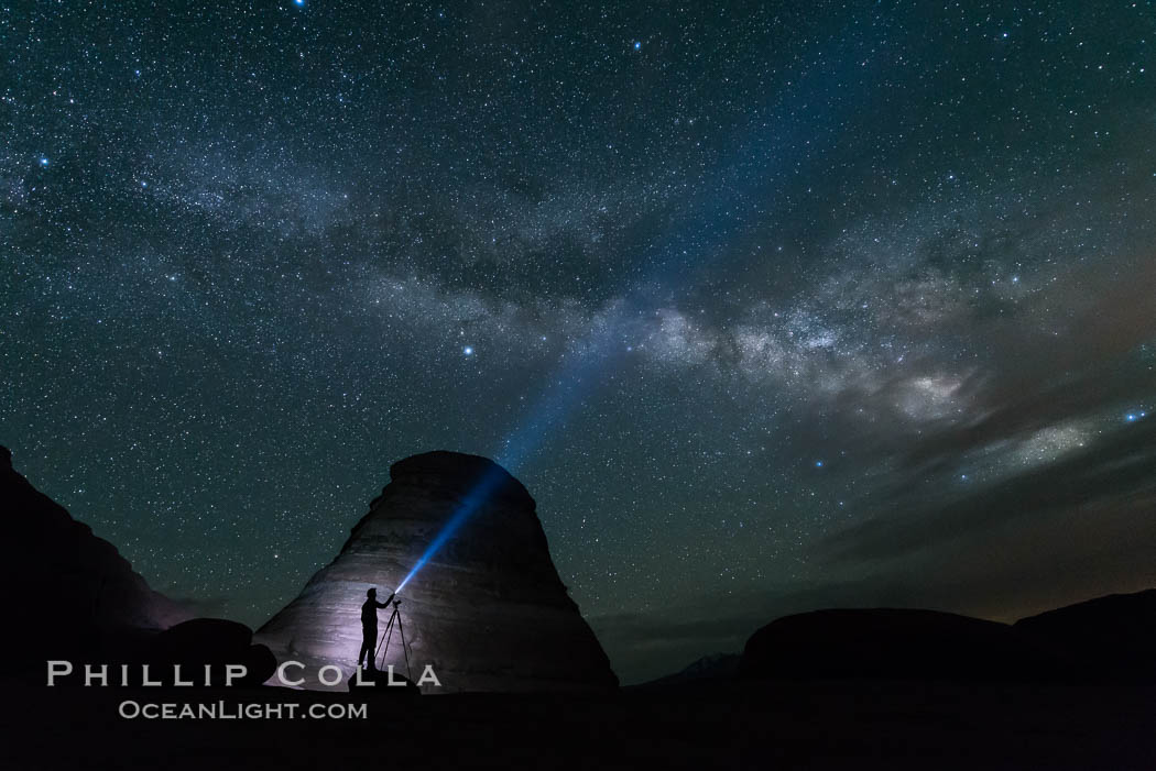 Milky Way and Stars over Delicate Arch, at night, Arches National Park, Utah. USA, natural history stock photograph, photo id 29293