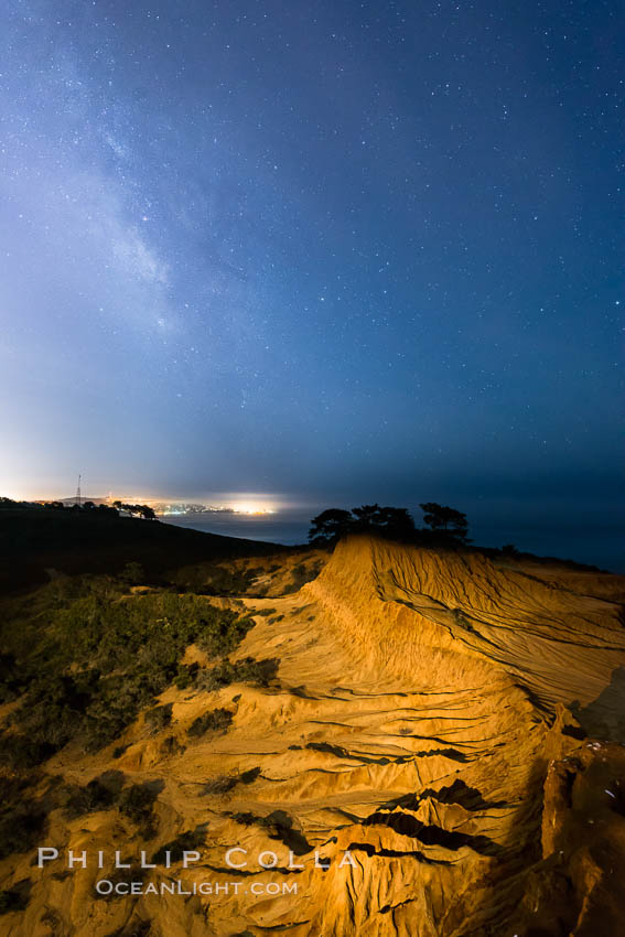 The Milky Way rises over La Jolla, viewed from Broken Hill in Torrey Pines State Reserve. Torrey Pines State Reserve, San Diego, California, USA, natural history stock photograph, photo id 28393