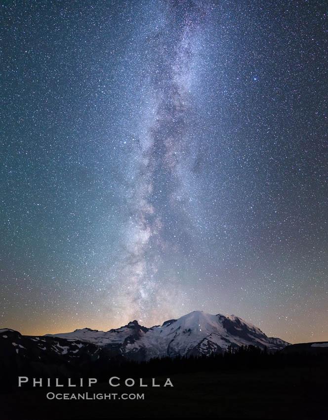 Milky Way and stars at night above Mount Rainier, Sunrise, Mount Rainier National Park, Washington