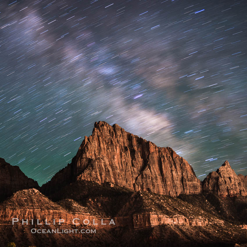 Milky Way over the Watchman, Zion National Park.  The Milky Way galaxy rises in the night sky above the the Watchman. Utah, USA, natural history stock photograph, photo id 28587