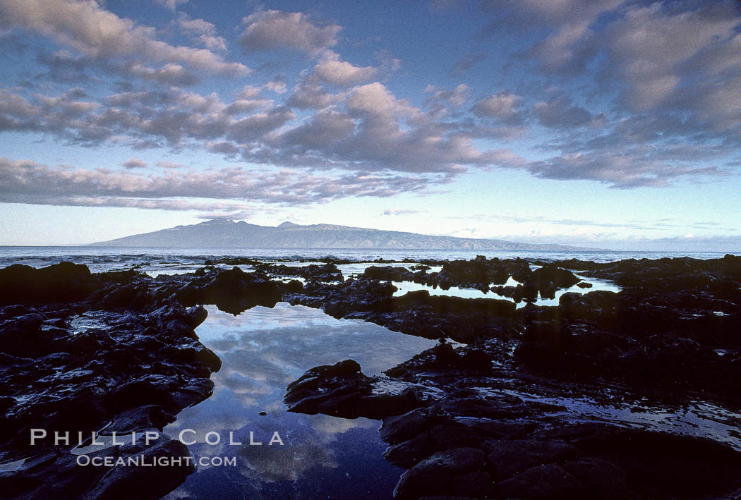 Molokai and water pools, viewed from west Maui.,  Copyright Phillip Colla, image #00253, all rights reserved worldwide.
