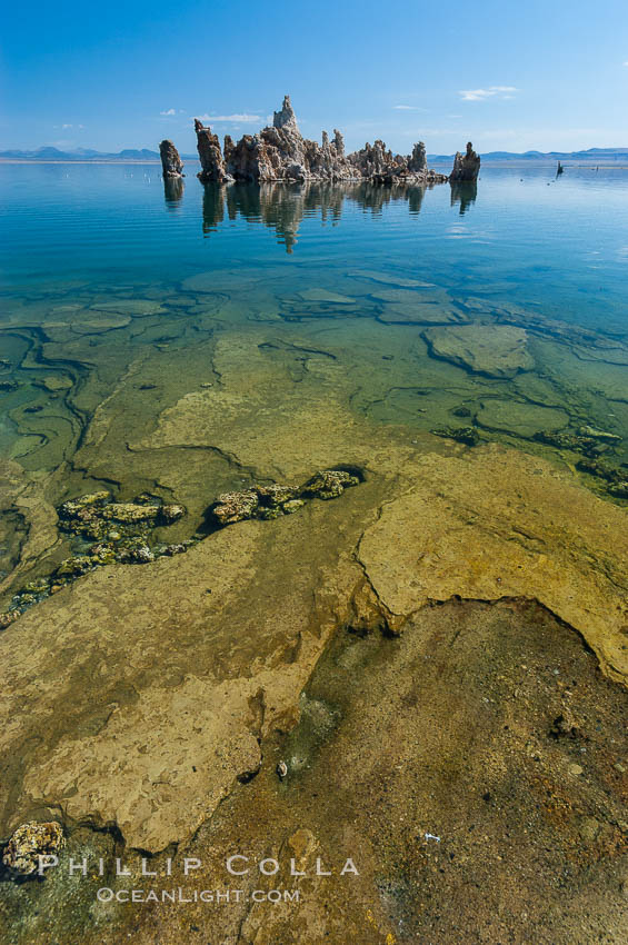 Tufa towers rise from Mono Lake.  Tufa towers are formed when underwater springs rich in calcium mix with lakewater rich in carbonates, forming calcium carbonate (limestone) structures below the surface of the lake.  The towers were eventually revealed when the water level in the lake was lowered starting in 1941.  South tufa grove, Navy Beach.,  Copyright Phillip Colla, image #09929, all rights reserved worldwide.
