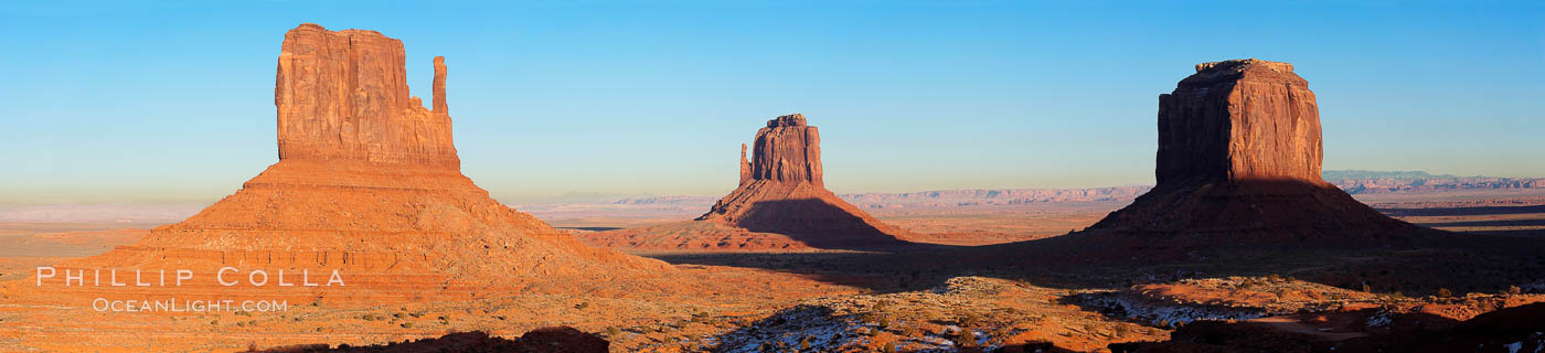 Monument Valley panorama, a composite of four individual photographs. Monument Valley, Arizona, USA, natural history stock photograph, photo id 20902