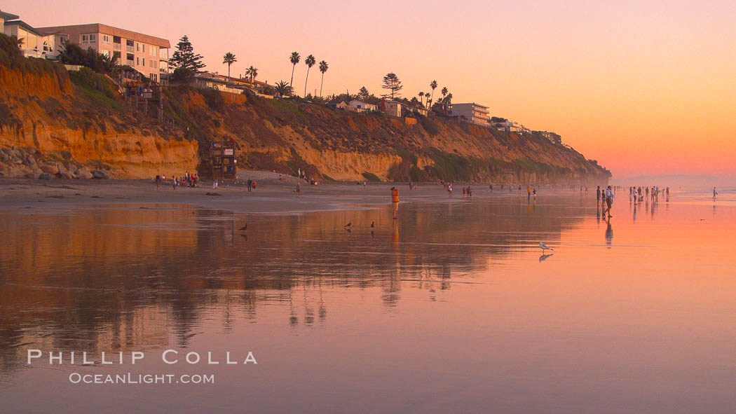 Moonlight Beach at sunset.,  Copyright Phillip Colla, image #21794, all rights reserved worldwide.