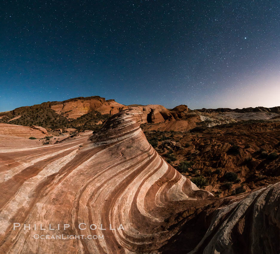 The Fire Wave by Moonlight, stars and the night sky, Valley of Fire State Park