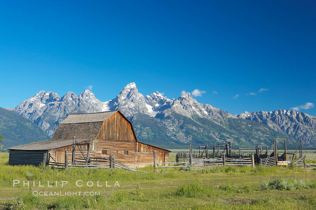 An old barn at Mormon Row is lit by the morning sun with the Teton Range rising in the distance. Mormon Row, Grand Teton National Park, Wyoming, USA, natural history stock photograph, photo id 12998