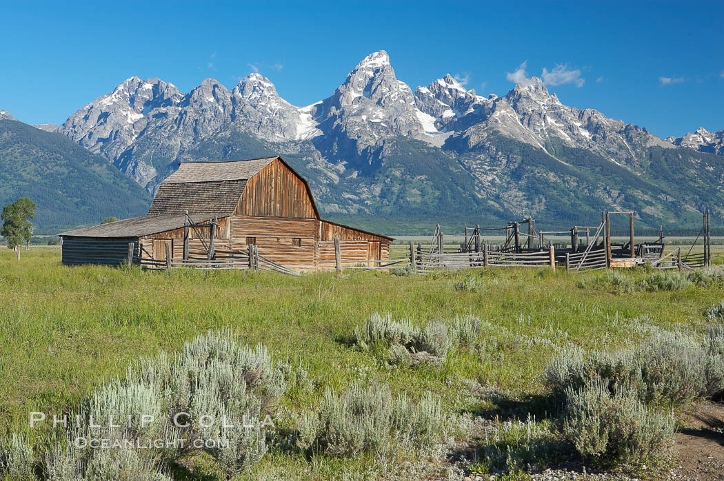 An old barn at Mormon Row is lit by the morning sun with the Teton Range rising in the distance, Grand Teton National Park, Wyoming