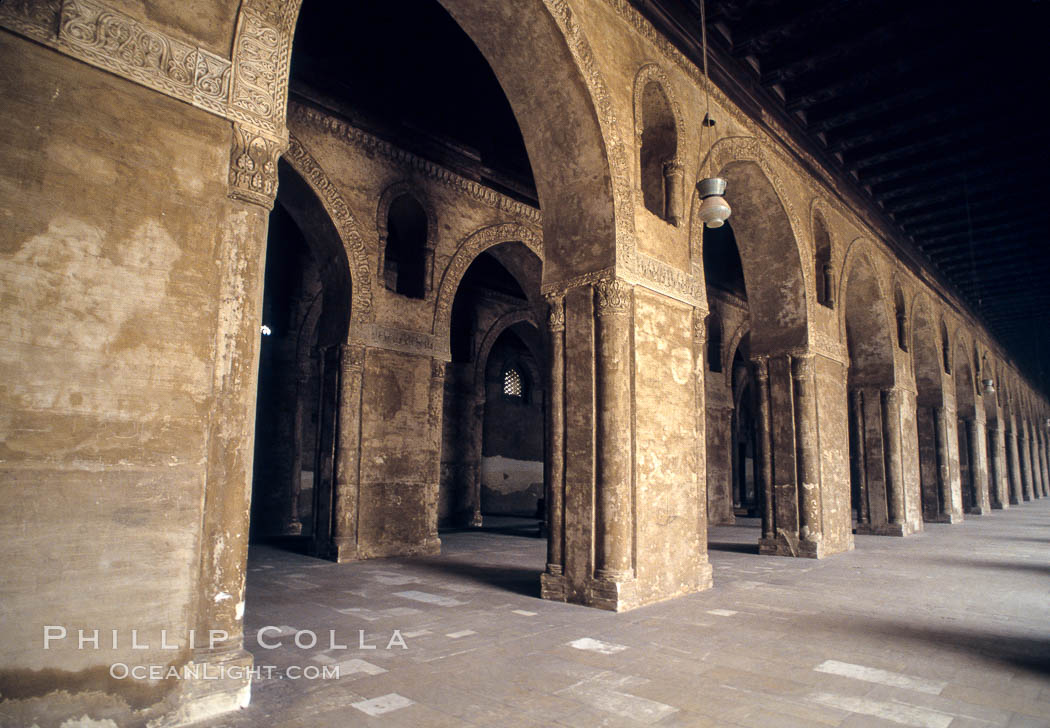 Arches, Mosque of Ibn Tulun. Cairo, Egypt, natural history stock photograph, photo id 02602