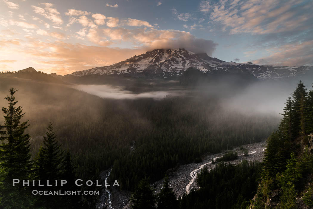 Mount Rainier sunset, viewed from Ricksecker Point, Mount Rainier National Park, Washington