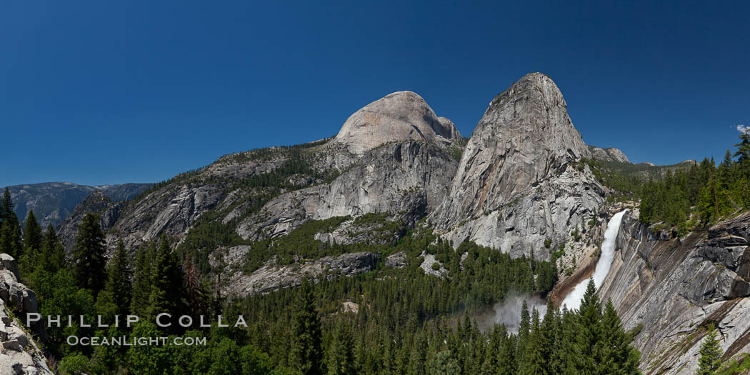 Half Dome and Nevada Falls, with Liberty Cap between them, viewed from the John Muir Trail / Panorama Trail.  Nevada Falls is in peak spring flow from heavy snowmelt in the high country above Yosemite Valley. Yosemite National Park, California, USA, natural history stock photograph, photo id 26860