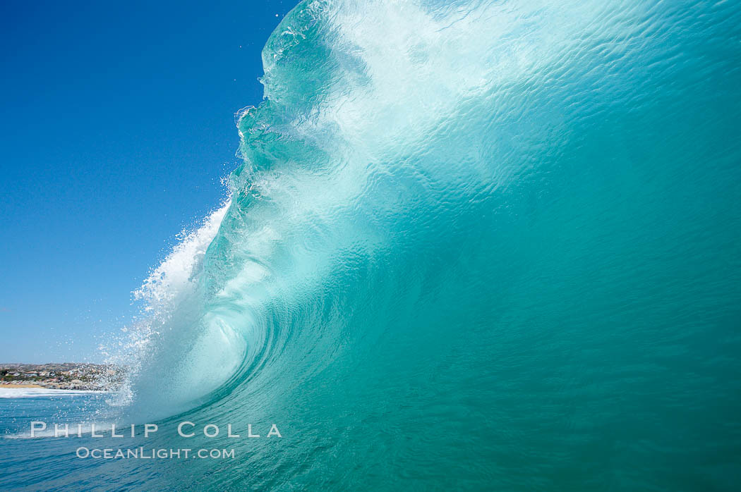 Wave breaking, tube, Newport Beach.,  Copyright Phillip Colla, image #16802, all rights reserved worldwide.
