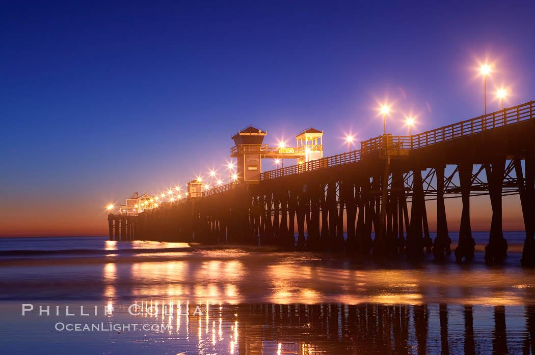 Oceanside Pier at dusk, sunset, night.  Oceanside. Oceanside Pier, Oceanside, California, USA, natural history stock photograph, photo id 14635