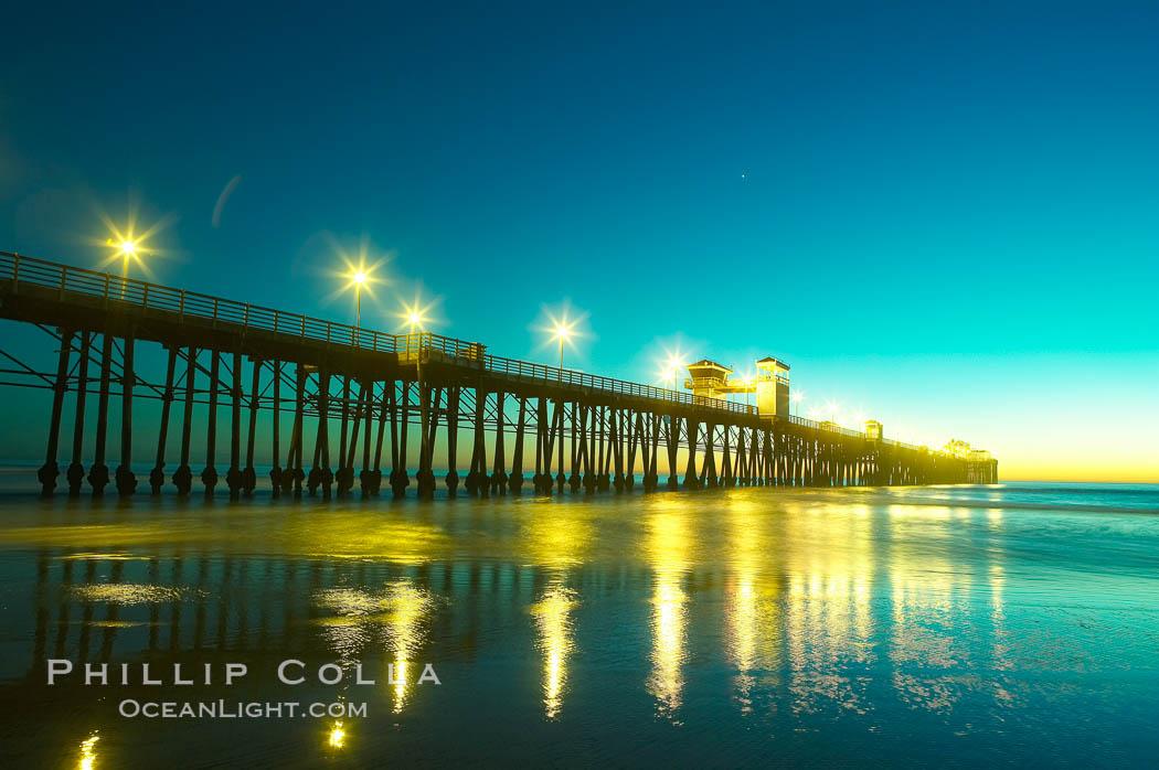 Oceanside Pier at dusk, sunset, night.  Oceanside. Oceanside Pier, Oceanside, California, USA, natural history stock photograph, photo id 14639