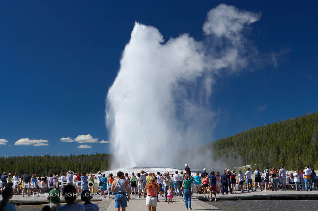 A crowd enjoys watching Old Faithful geyser at peak eruption. Upper Geyser Basin, Yellowstone National Park, Wyoming, USA, natural history stock photograph, photo id 13362