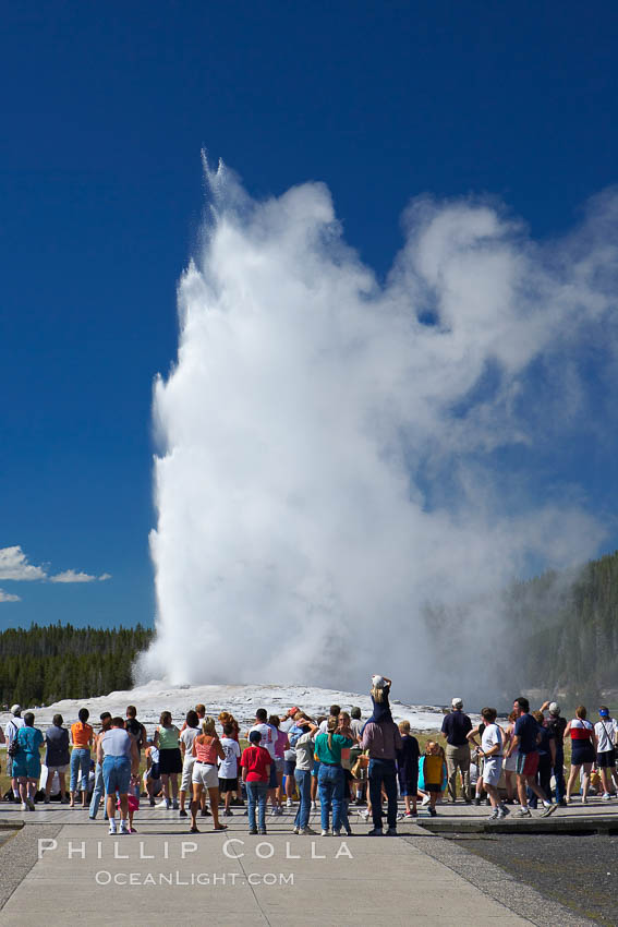 A crowd enjoys watching Old Faithful geyser