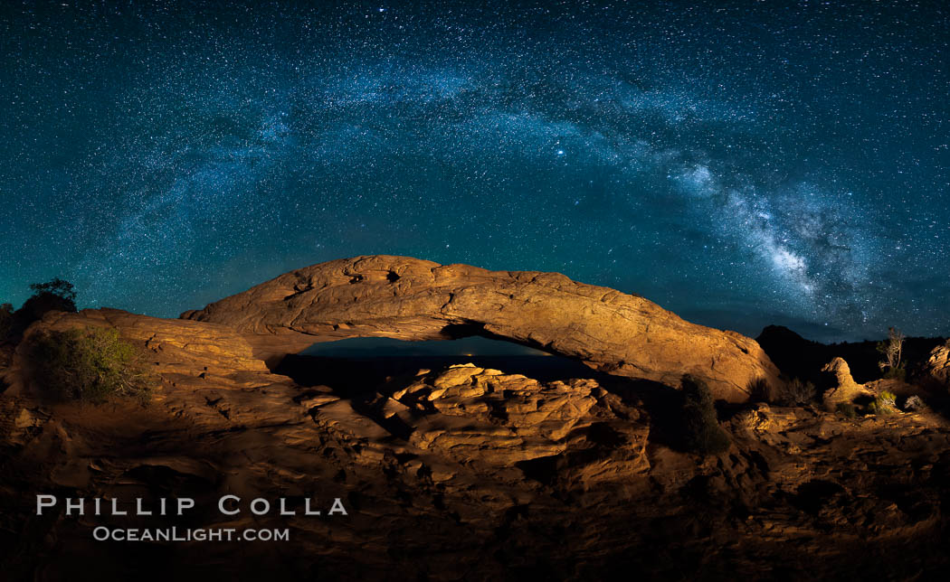Panorama of the Milky Way over Mesa Arch. Mesa Arch, Canyonlands National Park, Utah, USA, natural history stock photograph, photo id 27824