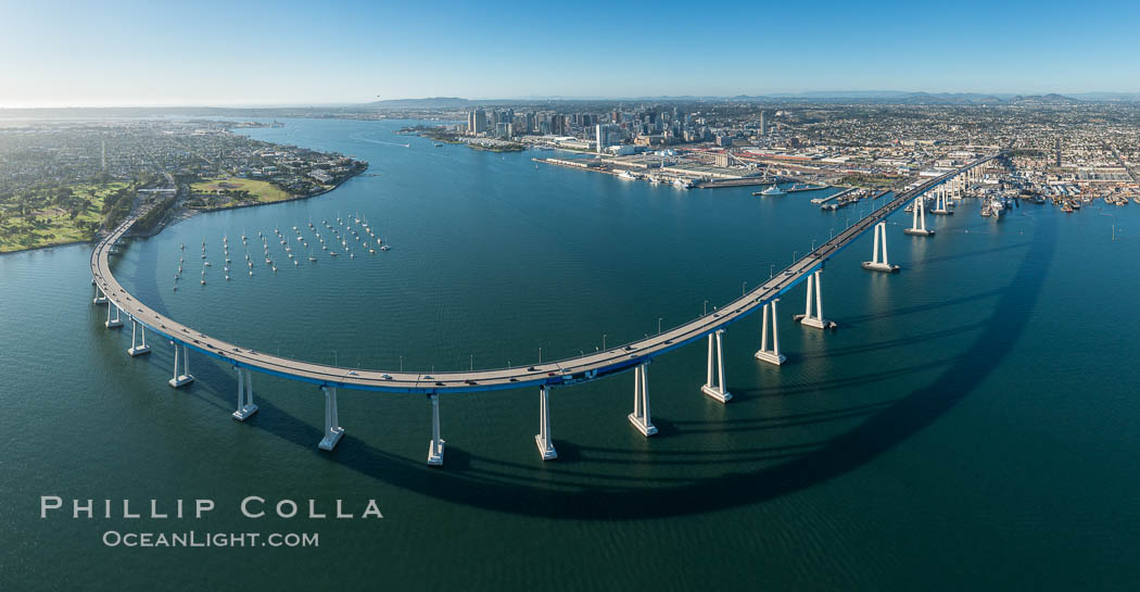 Panoramic Aerial Photo of San Diego Coronado Bay Bridge