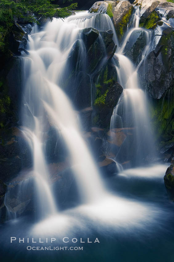 Paradise Falls tumble over rocks in Paradise Creek. Paradise Creek, Mount Rainier National Park, Washington, USA, natural history stock photograph, photo id 13867