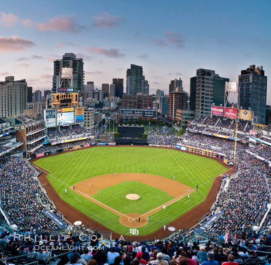 Petco Park, home of the San Diego Padres professional baseball team, overlooking downtown San Diego at dusk. San Diego, California, USA, natural history stock photograph, photo id 27048