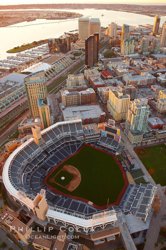 Downtown San Diego and Petco Park, viewed from the southeast.,  Copyright Phillip Colla, image #22300, all rights reserved worldwide.