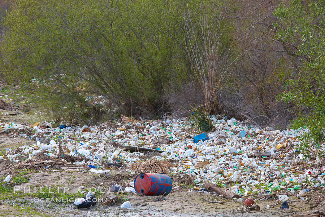Pollution accumulates in the Tijuana River Valley following winter storms which flush the trash from Tijuana in Mexico across the border into the United States.,  Copyright Phillip Colla, image #22544, all rights reserved worldwide.