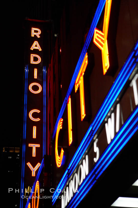 Radio City Music Hall, neon lights, night. Radio City Music Hall, New York City, New York, USA, natural history stock photograph, photo id 11176
