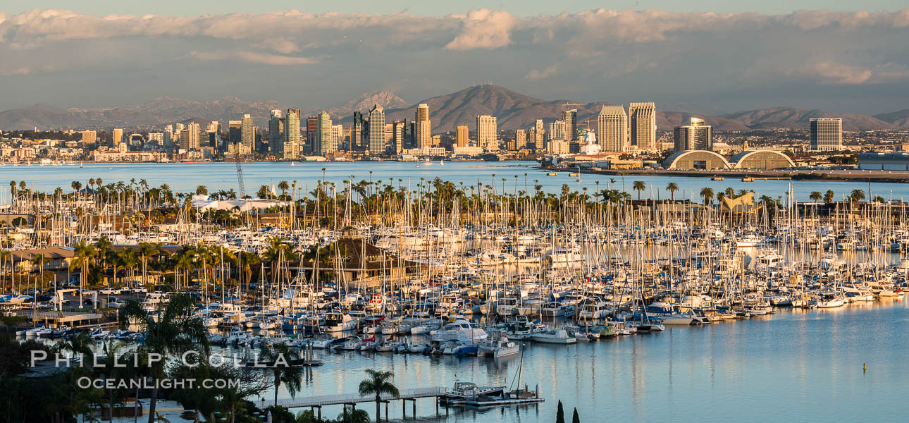 San Diego Bay and Skyline at sunset, viewed from Point Loma, panoramic photograph. San Diego, California, USA, natural history stock photograph, photo id 30210