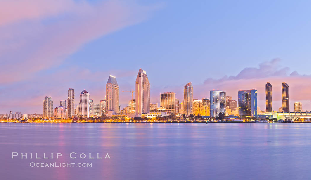 San Diego bay and skyline at sunrise, viewed from Coronado Island. San Diego, California, USA, natural history stock photograph, photo id 27177