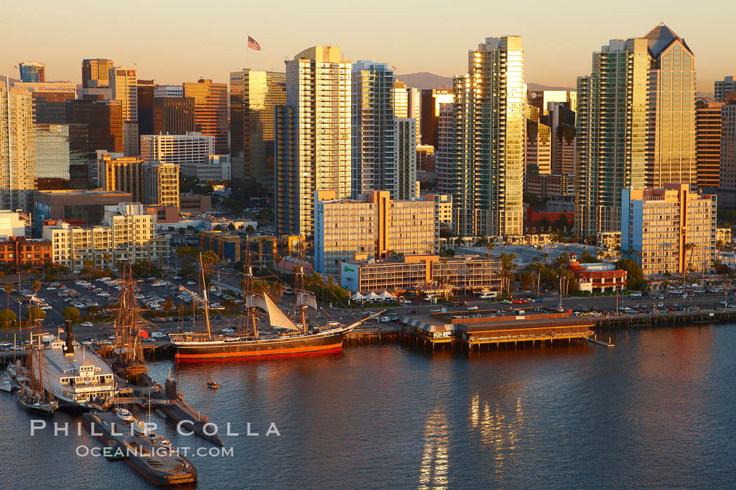 San Diego waterfront and skyline, Star of India (lower left), high rise modern office buildings, San Diego Bay, sunset. San Diego, California, USA, natural history stock photograph, photo id 22338