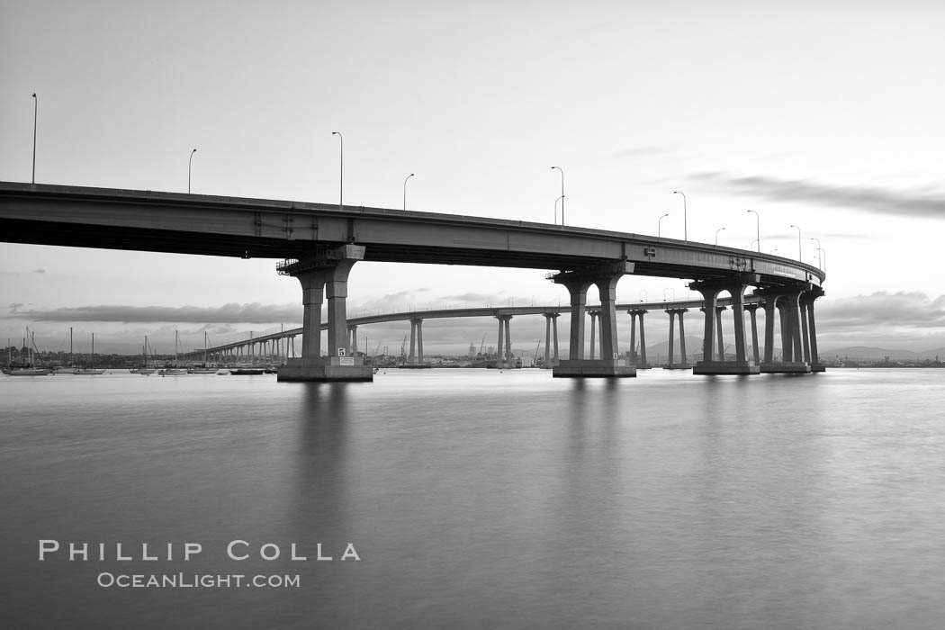 San Diego Coronado Bridge, known locally as the Coronado Bridge, links San Diego with Coronado, California. The bridge was completed in 1969 and was a toll bridge until 2002. It is 2.1 miles long and reaches a height of 200 feet above San Diego Bay. San Diego, California, USA, natural history stock photograph, photo id 27174