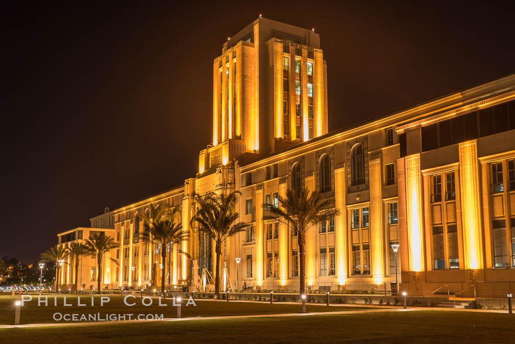 San Diego County Administration building at night., natural history stock photograph, photo id 29352