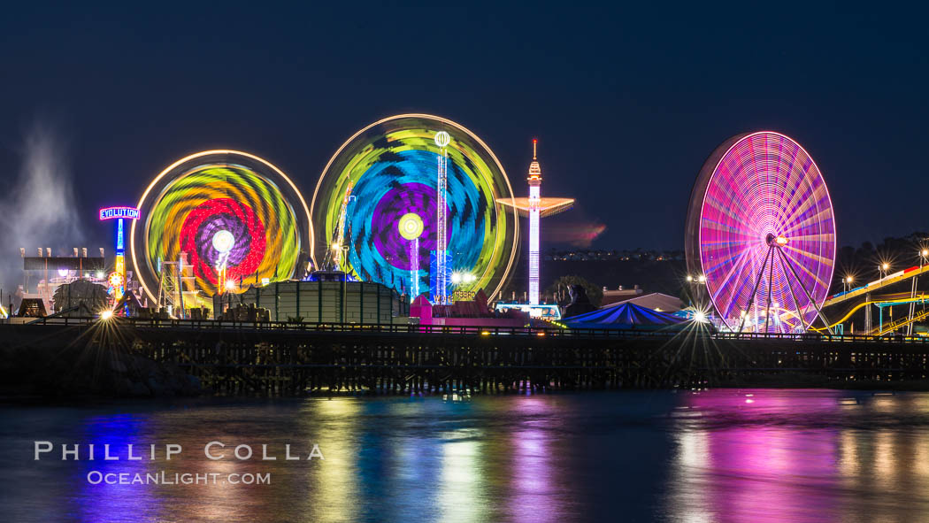 San Diego County Fair at night.  Del Mar Fair at dusk, San Dieguito Lagoon in foreground. California, USA, natural history stock photograph, photo id 31027